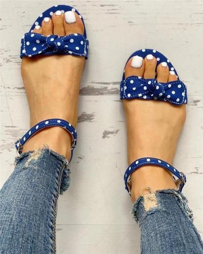 Dot Bowknot Design Open Toe Flat Sandals