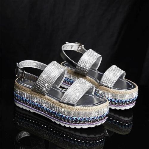 Women Roman Rhinestone Buckle Strap Platform Heel Sandals