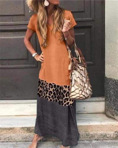 V Neck Short Sleeve Ankle-Length Leopard Print Color Matching Dress