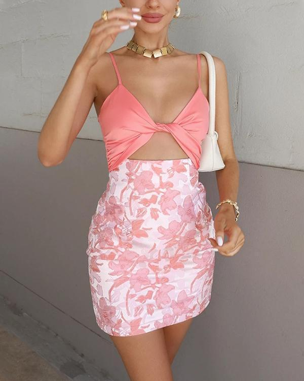 Sexy Floral Print Two-piece Suit Camis&Hip Skirt