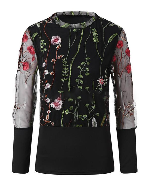 Women's Floral Embroidery T-shirt Elegant & Luxurious Daily Top