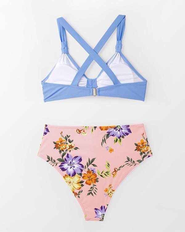Sweet Solid And Floral Knotted Bikini Sets