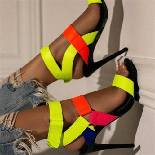 Women's fashion candy-colored high-heeled sandals