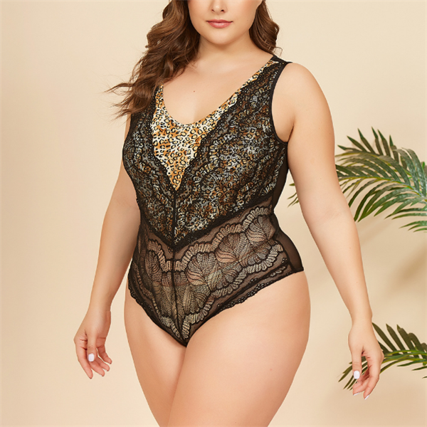 SEXY PLUS SIZE LACE AND LEOPARD TEDDY