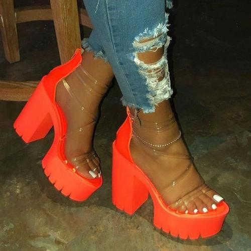 Strappy Chunky Heel Open Toe Zipper See-Through Sandals
