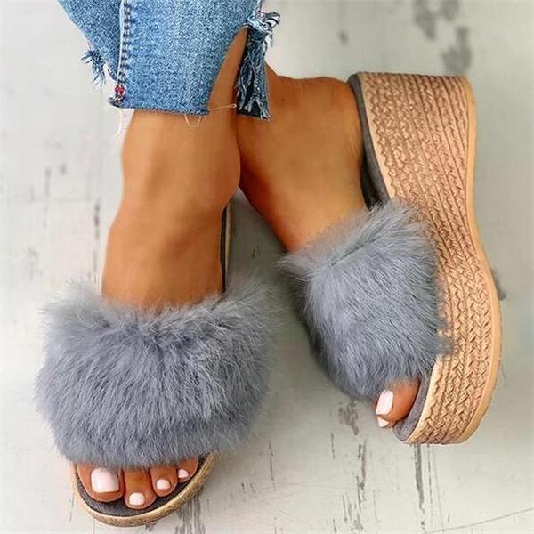 Women Fluffy Platform Wedge Heeled Sandals