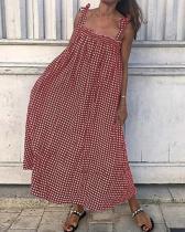 Plus Size Plaid Vintage Spaghetti Strap Summer Maxi Dresses