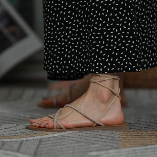 Embellished Strap Flat Sandals