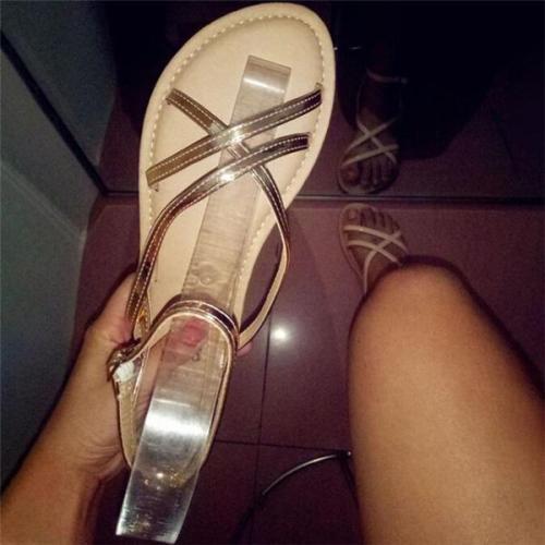 Women Sexy Cross Slim Belt Casual Flat Sandals