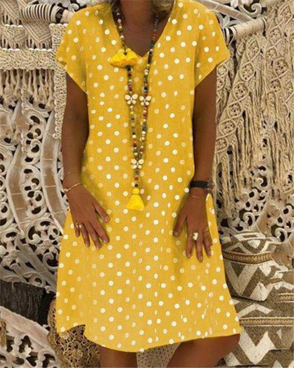 Plus Size Dot Printed Loose Dresses