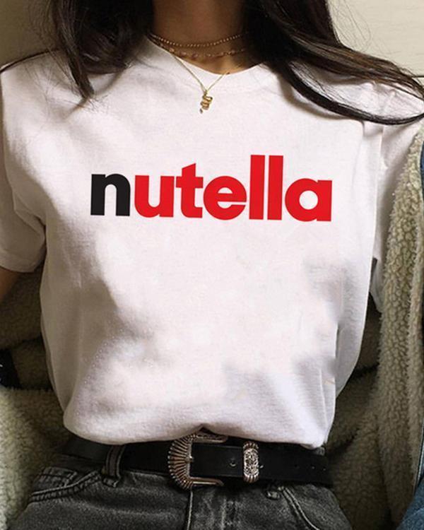 Cute Women Print Crew Neck Casual T-shirts