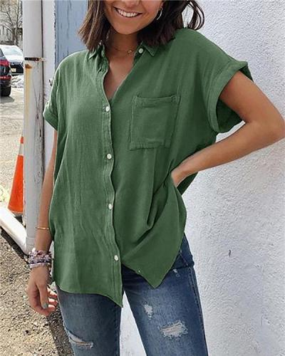 Pockets Short Sleeve Buttoned Down Plus Size Blouses