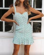 Printed Strapless Ruffled Backless Mini Dress