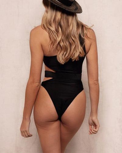 Women One-piece Solid Color Bikini