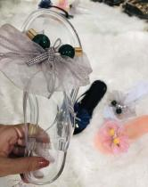 Lace Glitter Bow Rhinestone Slippers