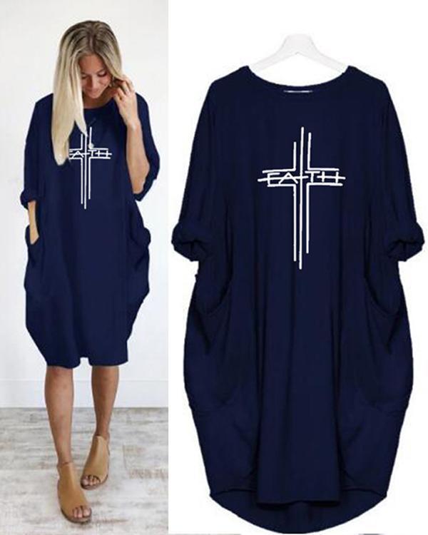 Printing Long Sleeved Irregular Women's Midi Dress