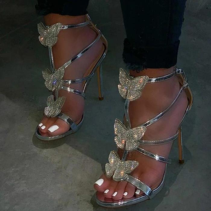 Open Toe Strappy Stiletto Heel Buckle Rhinestone Sandals