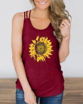 Sunflower Criss-Cross Hollow Out Tank