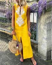 Cotton Floral Sleeveless Maxi Shift Dress