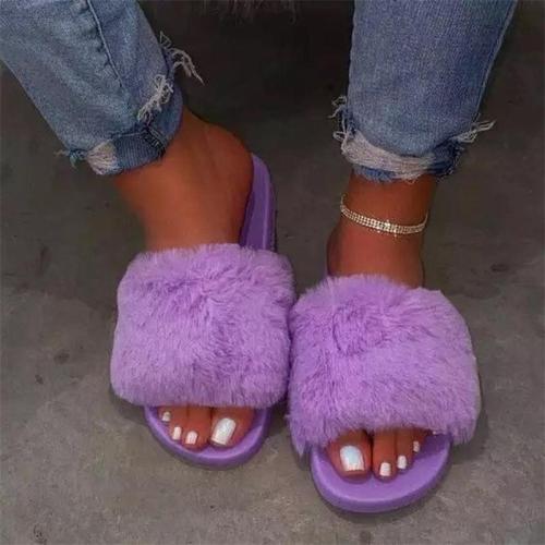 Fur Diamond Accented Slide Sandals