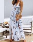 Cutout Front Halter Tie Floral Maxi Cocktail Dress