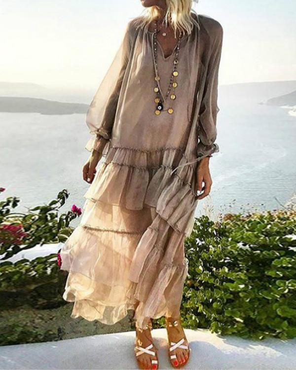 Solid Wrap Long Sleeve Maxi A-line Dress