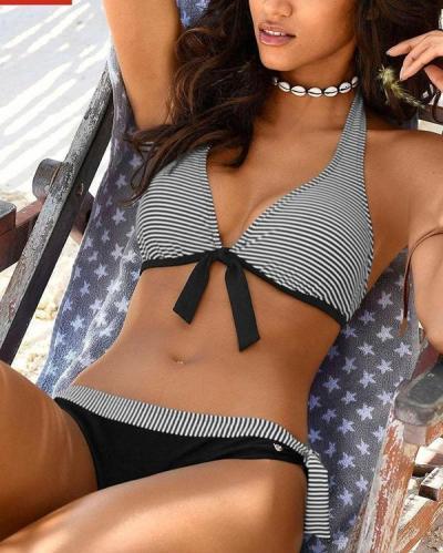 Striped Print Bikini Set