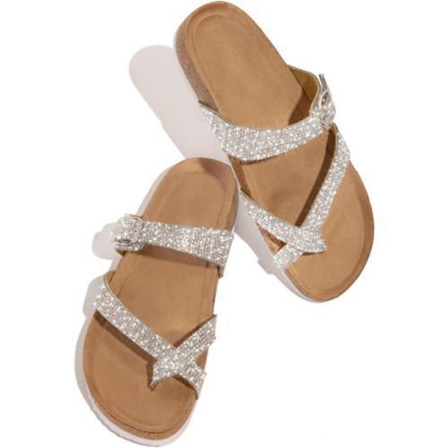 Summer Artificial Leather Rhinestone Flat Heel Slippers
