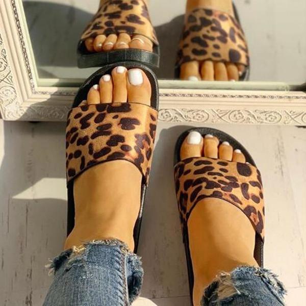 Leopard Pattern Open Toe Slippers