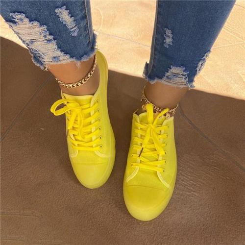 Round Toe Low-Cut Upper Lace-Up Plain Sneakers