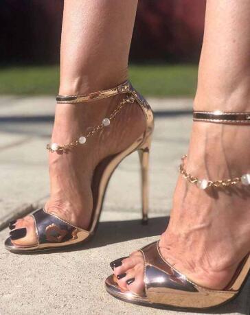 Summer New High Heel Open Toe Bead Chain Party Sandals