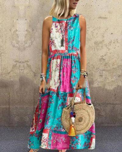 Summer Printed Pleated Round Neck Sleeveless Dress