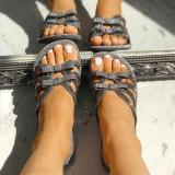Women Rhinestone Beach Artificial Leather Sandals
