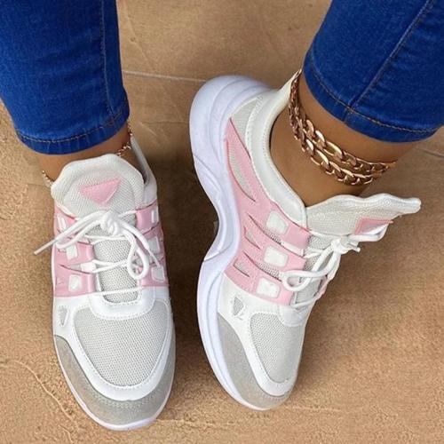 Low-Cut Upper Lace-Up Round Toe Thread Color Block Sneakers