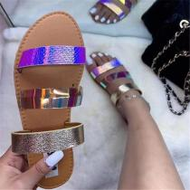 Flat Colorful Open Toe Sandals