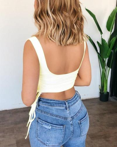 Double Drawstring Low Cut Solid Cropped Camisole