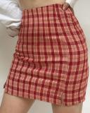 Vintage High Waist Lavender Plaid Skirt