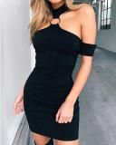 Black Halter Sleeveless Dress