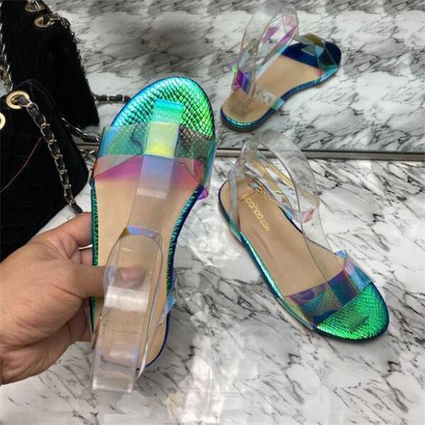 Flat Heel Artificial Leather Date Sandals