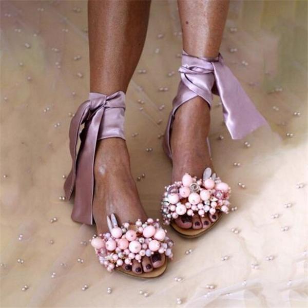 Womens Fashion Lace Up Design Flat Sandals