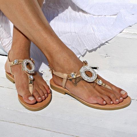 Women Thong Sandals Flat Heel Casual Summer Shoes