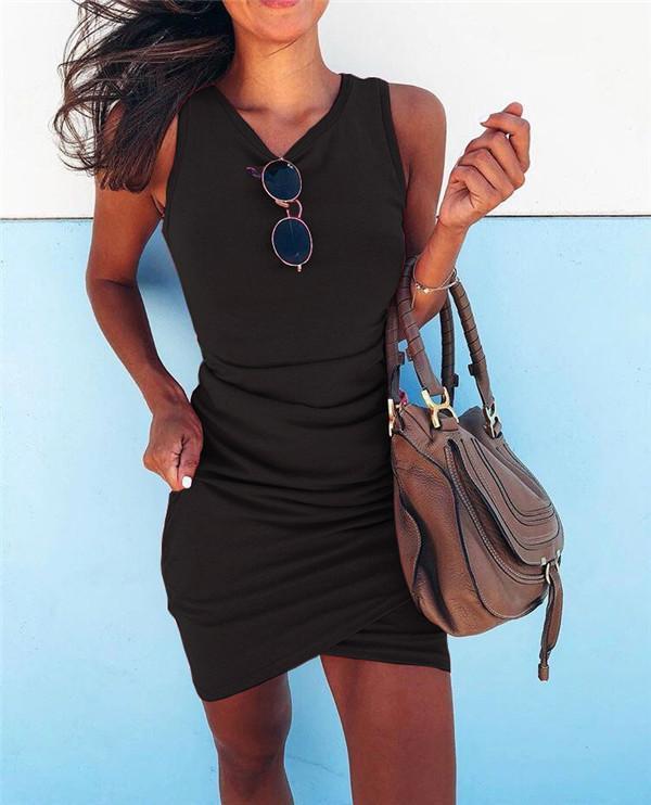 Sexy Solid Slim Sleeveless Holiday Dresses Shift Daytime Mini Bodycon Dresss