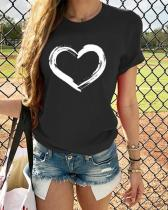 Short Sleeve Love Heart Printed Vintage Casual Tops Shirts