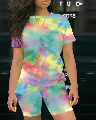 Tie Dye Print Round Neck Top & Shorts Set
