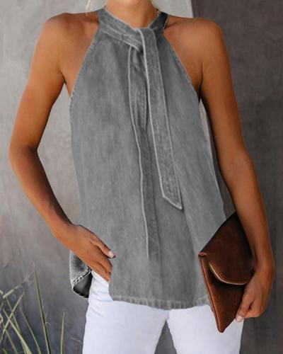 Sexy Off-Shoulder Denim Sleeveless Vest