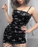 Chic Butterfly Print Bodycon Mini Dress