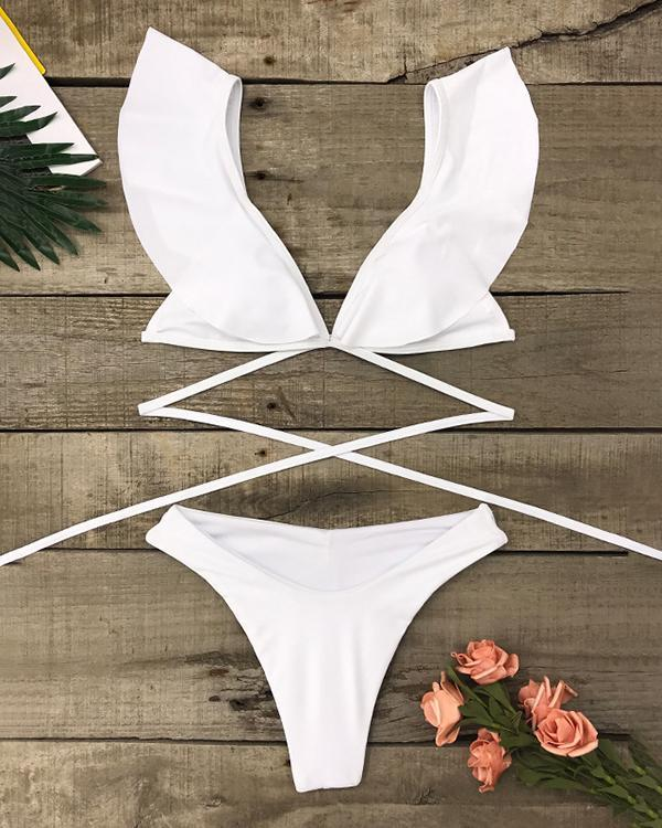 Retro Flounce Bandage Padding Bikini Set