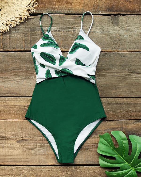 Leaf Twist-Front One Piece Swimsuit