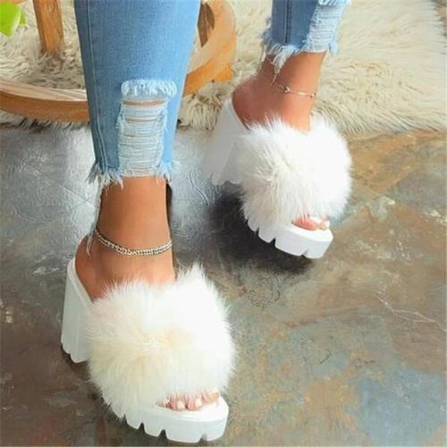 Chunky Heel Platform Flip Flop Slip-On Plain Summer Slippers