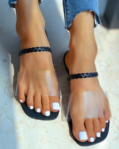 Transparent Single Strap Flat Sandals